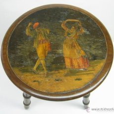 Antigüedades: SIGLO XIX - TABURETE BANQUETA CAOBA MACIZA CON TARACEA MARQUETERIA EN MADERAS NOBLES - BAILES REGION. Lote 119125983