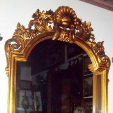 Antigüedades: ESPEJO CORNOCOPIA EN MADERA TALLADA Y DORADA.. Lote 119127659