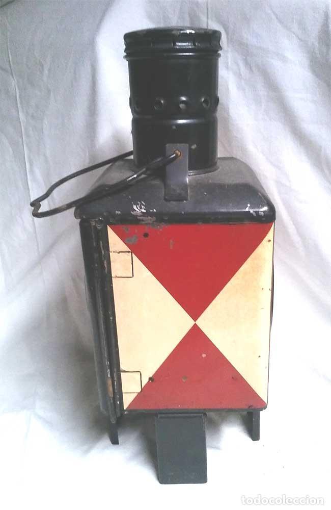 Antigüedades: Farol Final Comboy Estación Tren S XIX, plancha esmaltada marcado DB 79. Med. 20 x 20 x 47 cm - Foto 2 - 119164595
