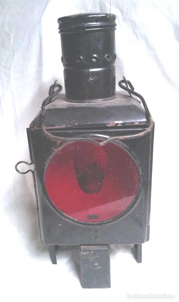 Antigüedades: Farol Final Comboy Estación Tren S XIX, plancha esmaltada marcado DB 79. Med. 20 x 20 x 47 cm - Foto 3 - 119164595