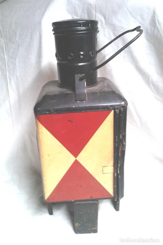 Antigüedades: Farol Final Comboy Estación Tren S XIX, plancha esmaltada marcado DB 79. Med. 20 x 20 x 47 cm - Foto 5 - 119164595