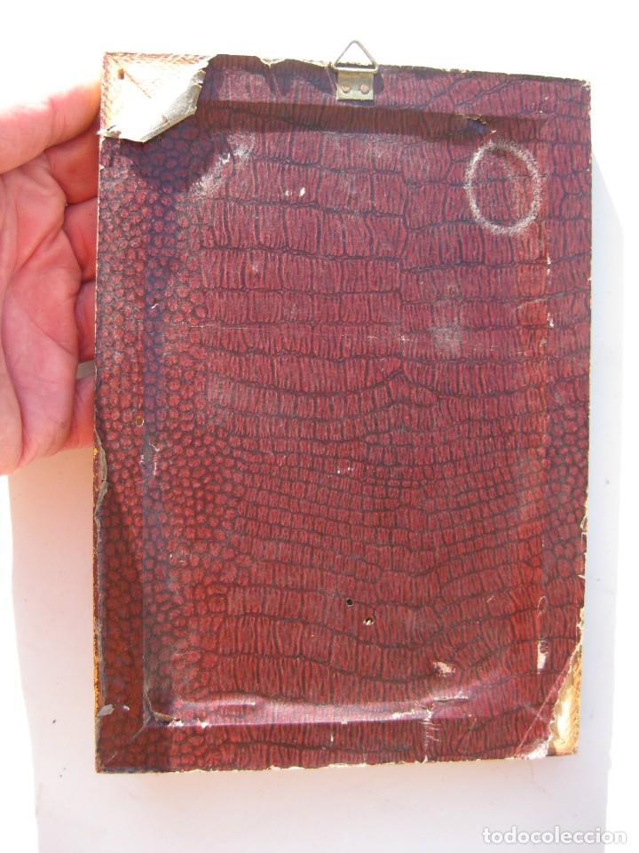 Antigüedades: CRISTO ENMARCADO EN MADERA PAN DE ORO Y TELA RASO 20 X 14 CMS - Foto 4 - 119176227