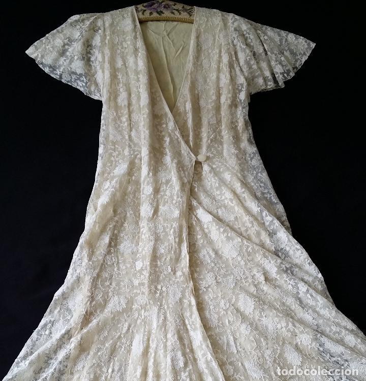 AUTENTICO VESTIDO DE ENCAJE ART DECO - AMERICANO (Antigüedades - Moda y Complementos - Mujer)