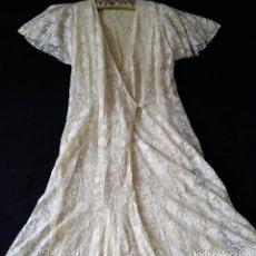 Antigüedades: AUTENTICO VESTIDO DE ENCAJE ART DECO - AMERICANO. Lote 119176455