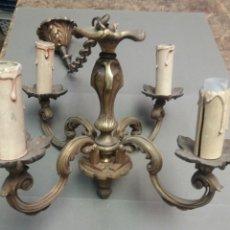 Antigüedades: LAMPARA DE TECHO DE BRONCE DE CUATRO LUCES. Lote 119198035