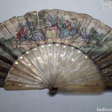 Antigüedades: ABANICO ANTIGUO AÑOS 1850 DE HUESO/ASTA HECHO A MANO AMBAS CARAS. Lote 119215288