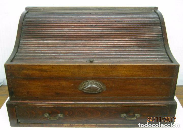Antigüedades: Antiguo secreter buro con persiana - con secretos - tipo escritorio americano industrial - Foto 2 - 119231591