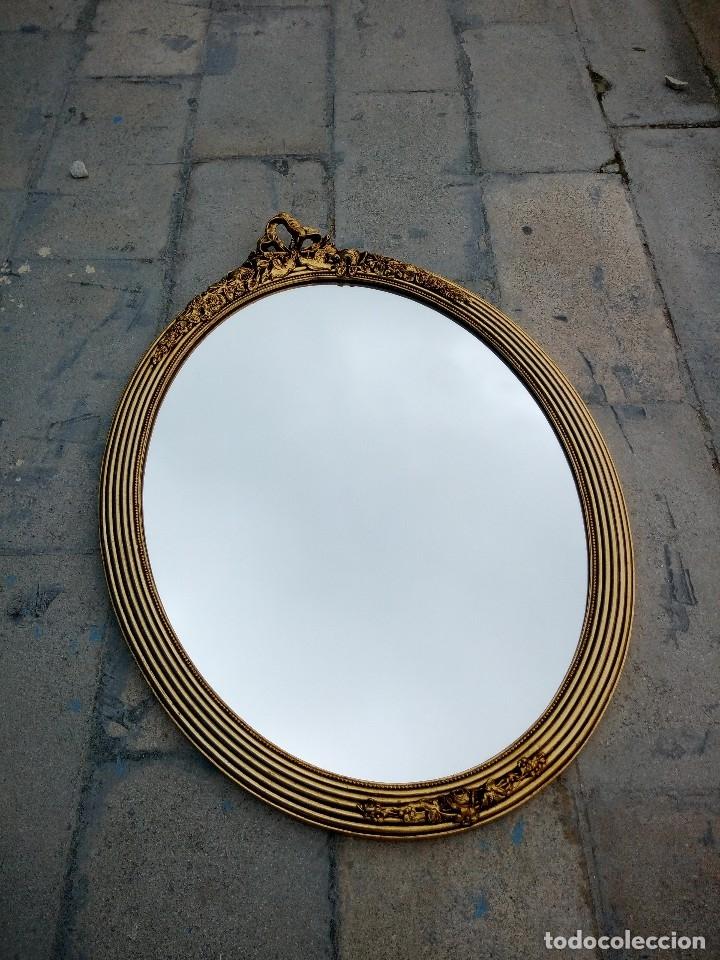 Antigüedades: antiguo espejo estilo isabelino de madera pintado en dorado - Foto 3 - 214070977