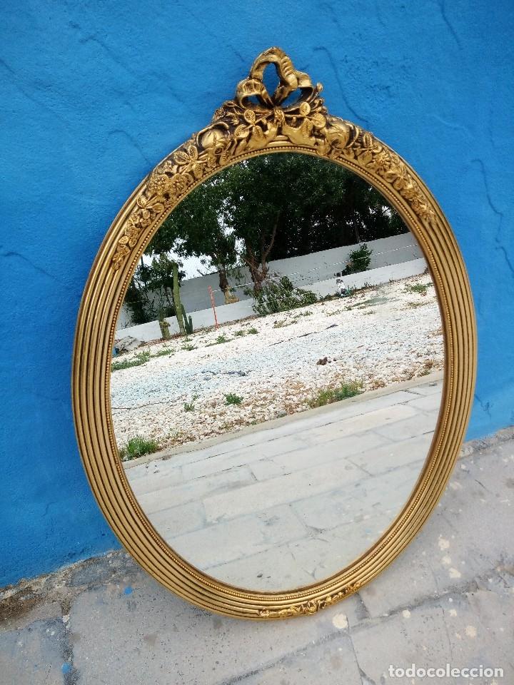 Antigüedades: antiguo espejo estilo isabelino de madera pintado en dorado - Foto 6 - 214070977