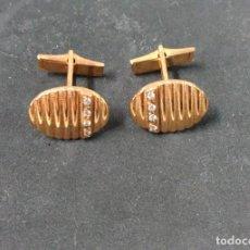 Antigüedades: GEMELOS EN METAL DORADO Y CRISTALES. Lote 119265371