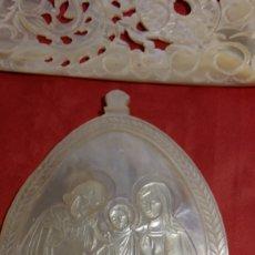Antigüedades: PAREJA DE MEDALLONES EN CONCHA DE MADREPERLA O NACAR.. Lote 119284439