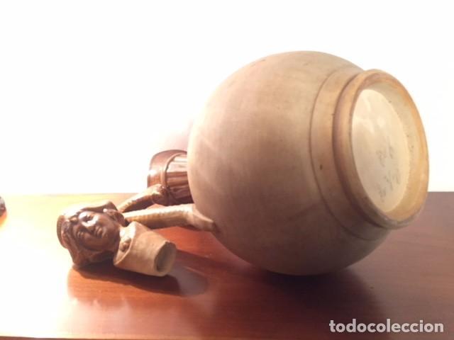 Antigüedades: Antigua jarra jarron ceramica alfareria española, con tapon figura caras parte superior esmaltada - Foto 8 - 119292691