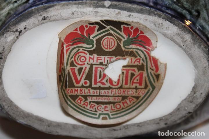 Antigüedades: CENTRO DE MESA ART NOUVEAU MODERNISTA EN MAYÓLICA ESMALTADA - H. 1900 - Foto 12 - 119292755