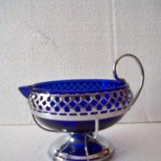 Antigüedades: JARRA SALSERA CRISTAL AZUL COBALTO. Lote 119347871