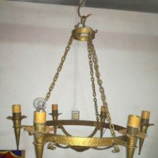 Antigüedades: GRAN LÁMPARA DE FORJA. Lote 119368947
