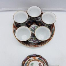 Antigüedades: PRECIOSO JUEGO ANTIGUO DE TÉ CHINO EN PORCCELANA PINTADO A MANO DE CINCO SERVICIOS CON TETERA.. Lote 119468571