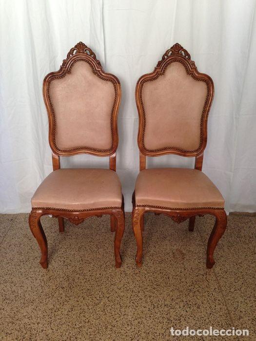 2 sillas estilo luis xvi en madera tallada con comprar sillas antiguas en todocoleccion - Sillas estilo luis xvi ...
