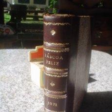Antigüedades: ANTIGUO LIBRO ENCUADERNADO EN CUERO CAJA SECRETO PARA GUARDAR COSAS. Lote 119481135