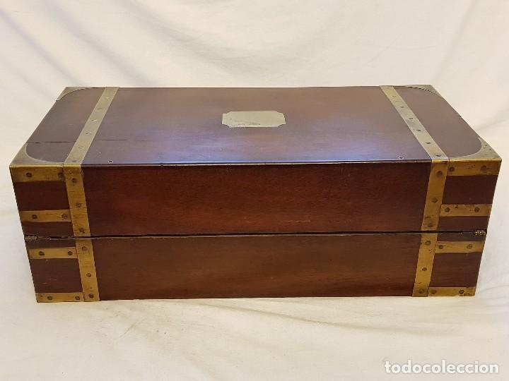 Antigüedades: Escritorio de campaña de caoba. Auténtico. Principios del siglo XIX - Foto 4 - 119488995