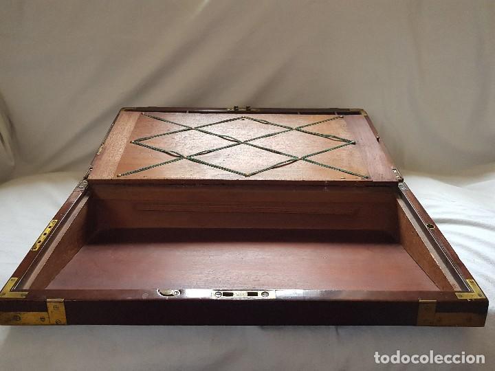 Antigüedades: Escritorio de campaña de caoba. Auténtico. Principios del siglo XIX - Foto 12 - 119488995