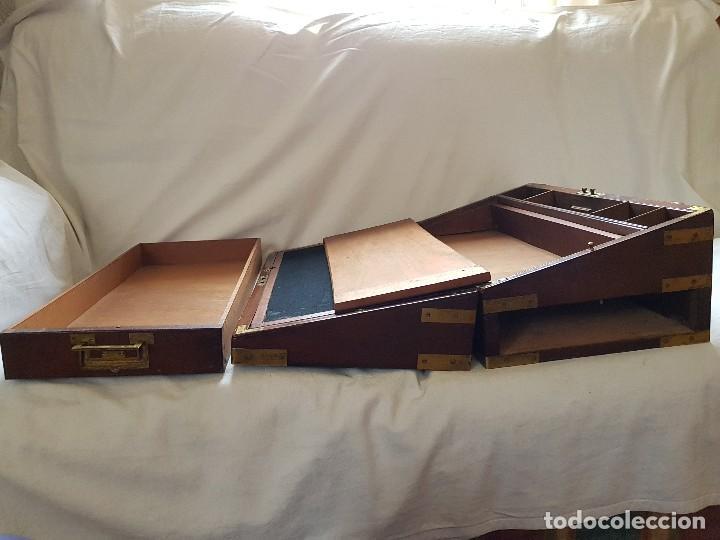 Antigüedades: Escritorio de campaña de caoba. Auténtico. Principios del siglo XIX - Foto 14 - 119488995