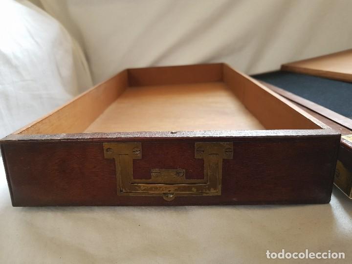 Antigüedades: Escritorio de campaña de caoba. Auténtico. Principios del siglo XIX - Foto 15 - 119488995