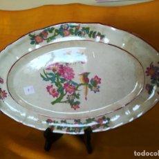 Antigüedades: 2A. RARO. DE COLECCIÓN. BANDEJA. CARTUJA. PICKMAN. SEVILLA. MEDALLA DE ORO. FLORES Y PAJARO. 1890-99. Lote 119490723
