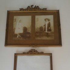 Antigüedades: ANTIGUOS MARCOS EPOCA MODERNISTA PORTA FOTOS FRANCESES COPETE MADERA ESTUCADA. Lote 119507654