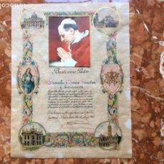 Antigüedades: BENDICIÓN APOSTÓLICA PAPA PIO XII PERGAMINO.. Lote 119519127