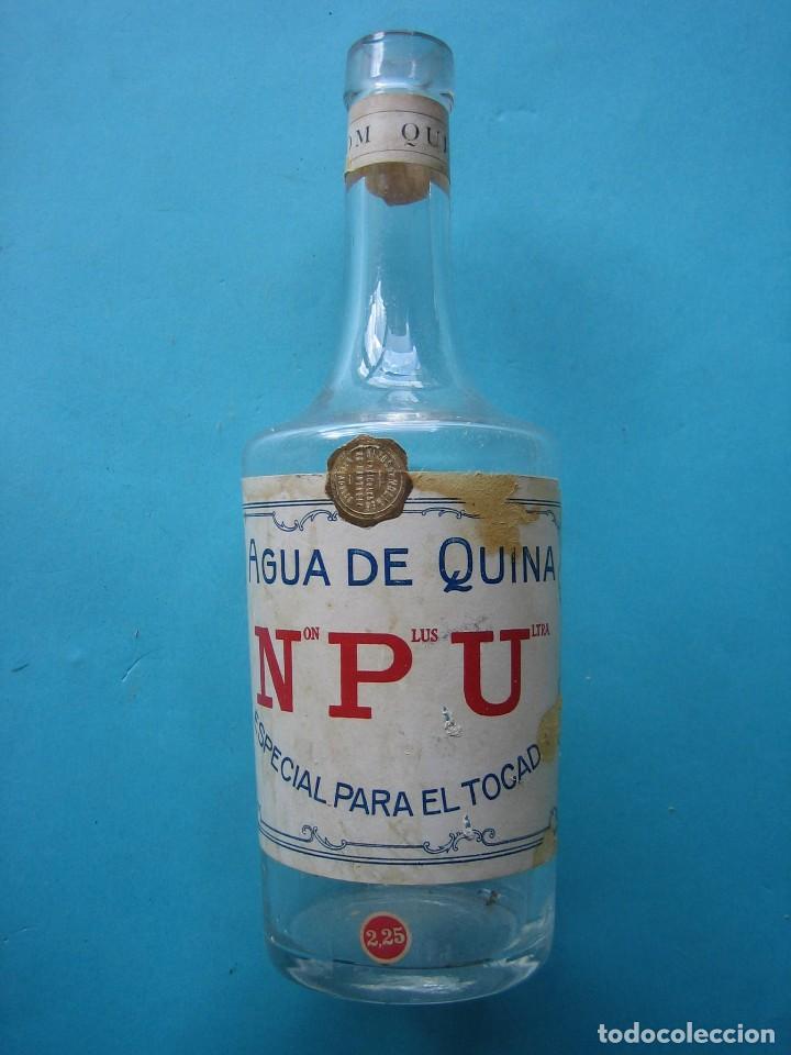 VALADOLID - ANTIGUA BOTELLA DE AGUA DE QUINA NON PLUS ULTRA - 22 CM - VER FOTOS (Antigüedades - Cristal y Vidrio - Farmacia )