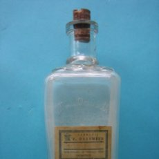Antigüedades: FARMACIA ANTIGUA BOTELLA ALCOHOLATO VDA. GONZALEZ FEITO MADRID ETIQUETA DE VALLADOLID 20 CM VER. Lote 119539167