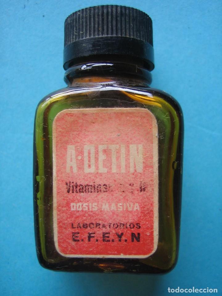 FARMACIA - ANTIGUO FRASCO A. DETIN - VITAMINAS - 5,5 CM - VER FOTOS (Antigüedades - Cristal y Vidrio - Farmacia )