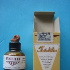 Antigüedades: FARMACIA - ANTIGUO FRASCO INSTILIN LETI + ENVASE CAJA DE CARTON - 5 CM - VER FOTOS. Lote 119558091