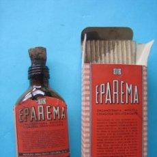Antigüedades: FARMACIA - ANTIGUO FRASCO EPAREMA + ENVASE CAJA DE CARTON - 12 CM - VER FOTOS. Lote 119558863
