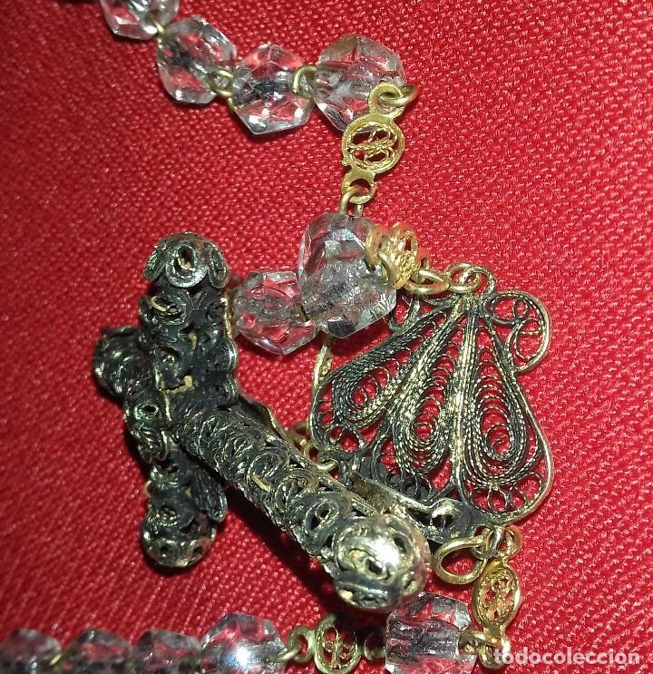 Antigüedades: ANTIGUO ROSARIO PLATA DORADA Y FILIGRANA. CUENTAS CRISTAL BRILLANTE - Foto 5 - 119573435