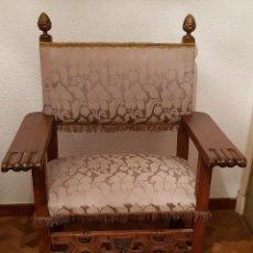 Antigüedades: SILLÓN FRAILERO DE ROBLE.. Lote 119584643