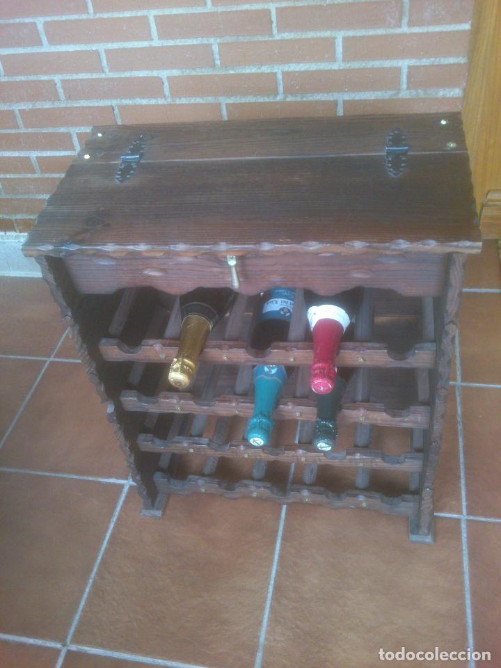 Antigüedades: Botellero rustico en madera 20 botellas - Foto 6 - 119586167