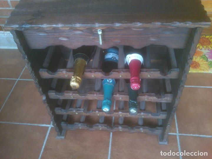 Antigüedades: Botellero rustico en madera 20 botellas - Foto 10 - 119586167