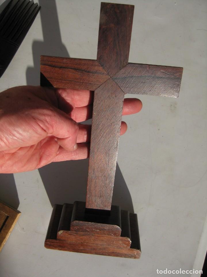 Antigüedades: CALVARIO EN MADERA Y BRONCE , CRISTO DE BRONCE 29 CMS. - Foto 5 - 119595943