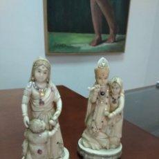 Antigüedades: PAREJA DE OKIMONOS DE MARFIL TALLADO SHIBAYAMA. Lote 119599487