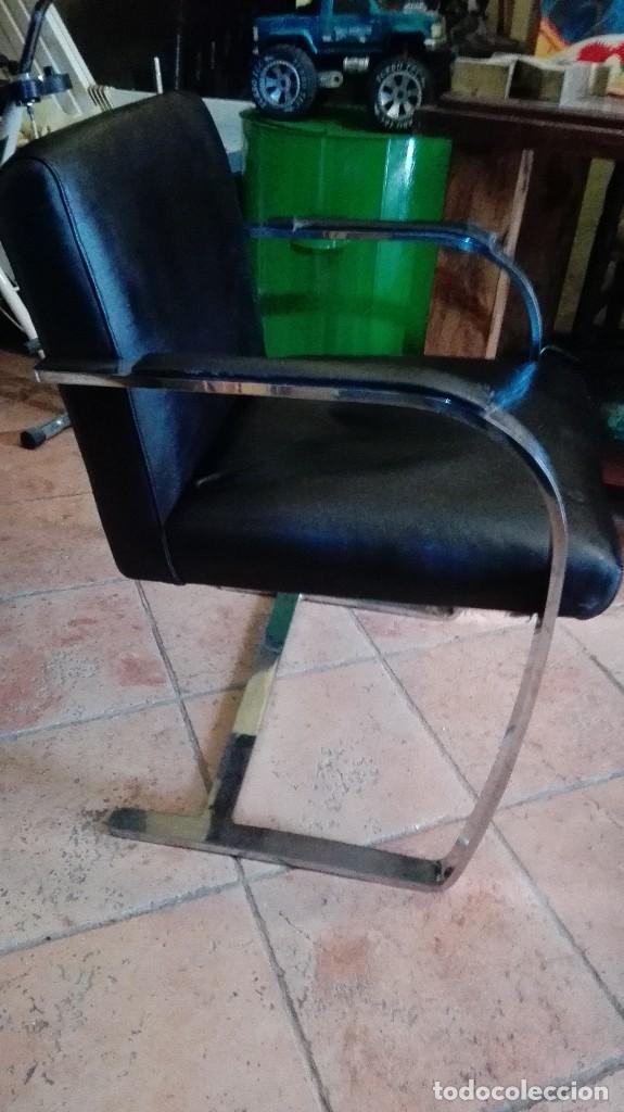 Antigüedades: Exclusivo sillon de diseño en acero inoxidable rtve vintage numerado unico en venta - Foto 3 - 119619031