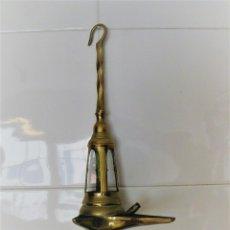 Antiquitäten - ENORME LÁMPARA DE ACEITE CANDIL EN BRONCE 42 CMS DE LARGO 700 GRS. - 119168123