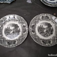 Antigüedades: LOTE DOS, PLATO LLANO LA CARTUJA PICKMAN, SERIE VISTAS NEGRO PARDUZCO. Lote 119632895