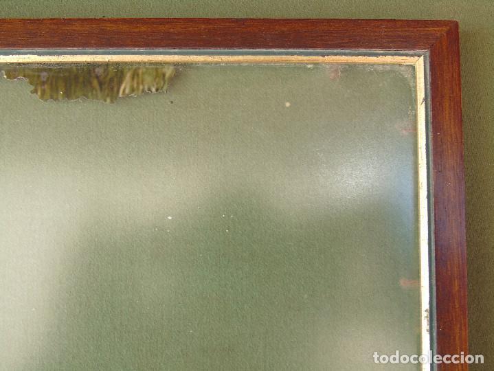 Antigüedades: ANTIGUO MARCO DE MADERA Y BORDE INTERIOR EN DORADO. CON CRISTAL MATE. - Foto 5 - 119650127