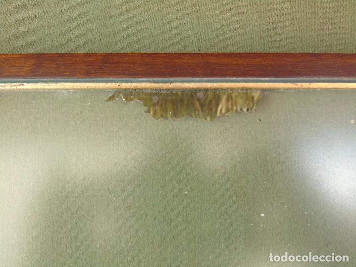 Antigüedades: ANTIGUO MARCO DE MADERA Y BORDE INTERIOR EN DORADO. CON CRISTAL MATE. - Foto 6 - 119650127