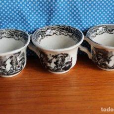 Antigüedades: TRES TAZAS CAFE SERIE VISTAS EN NEGRO ANTIGUA DE PICKMAN PORCELANA SEVILLA. Lote 119657623