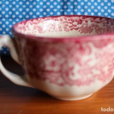 Antigüedades: TAZA DE CAFE ANTIGUA PICKMAN DECORADA EN ROSA PORCELANA SEVILLA. Lote 119657847