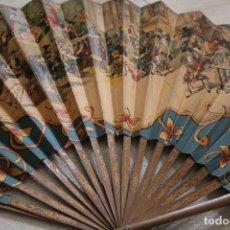 Antigüedades: LOTE ANTIGUOS ABANICOS RECUERDO DE ESPAÑA, PAPEL Y VARILLAS DE MADERA. Lote 133139202