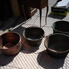 Antigüedades: LOTE DE CUATRO CALDERAS DE COBRE SIGLO XLX. Lote 124288403