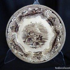 Antigüedades: RARO PLATO CARTAGENA. CAZA DEL BISONTE, SIGLO XIX.SELLOS. Lote 119842151